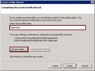 "Completing ""Create Profile Wizard"""