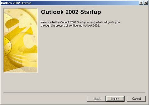 Outlook 2002 startup wizard