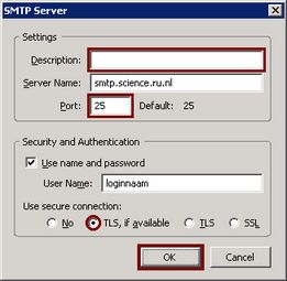 Account Settings -> Outgoing Server (SMTP) -> SMTP Server