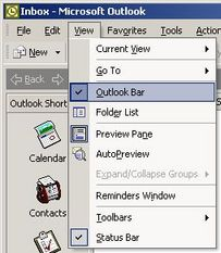 View -> Outlook Bar