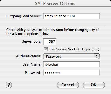 Mac OS X SMTP Options