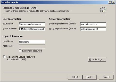 Internet E-mail Settings (IMAP)