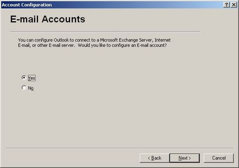 Would you like to configure an E-mail account?