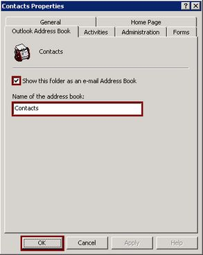 Outlook Adress Book tabblad bij contacts