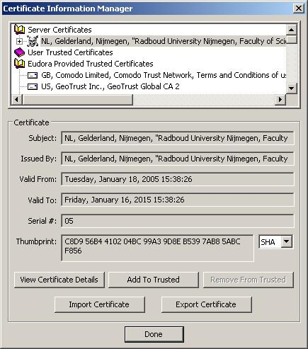 Certificate Information Manager