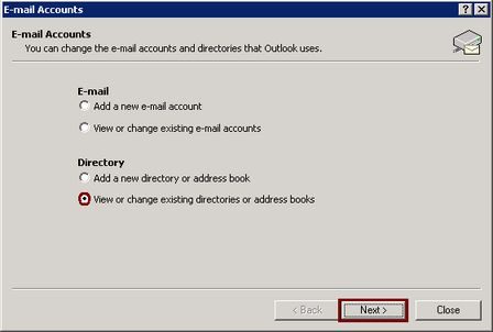Outlook addressbook, view existing.