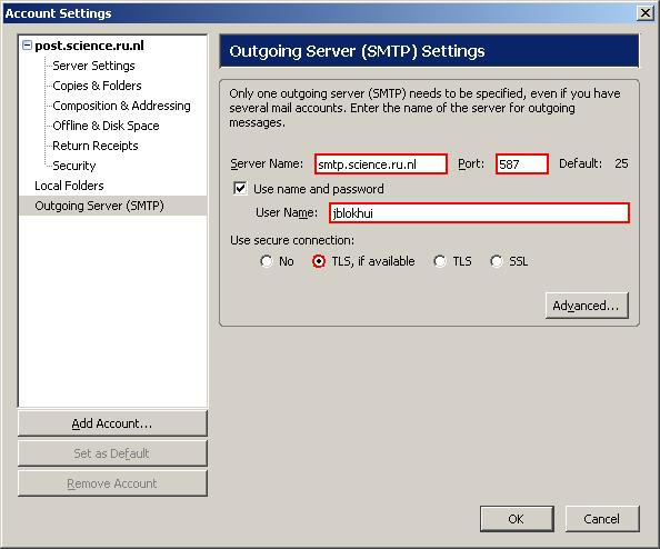 Outgoing Server (SMTP) Settings